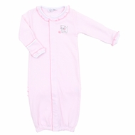 Magnolia Baby Girls Pink Stripe Purrfectly Sweet Kitty Cat Ruffle Converter Gown