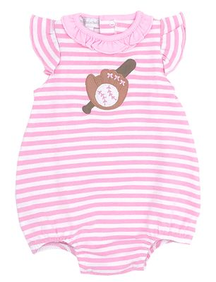 Magnolia Baby Girls Pink Striped Baseball Applique Bubble