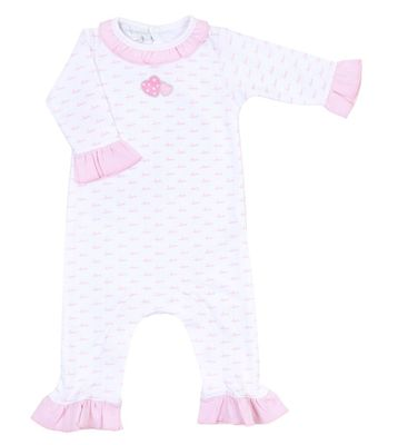 Magnolia Baby Girls Pink Sweet Valentine Embroidered Ruffle Playsuit