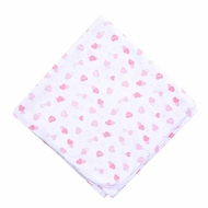 Magnolia Baby Girls Pink Sweet Valentine Hearts Swaddle Blanket