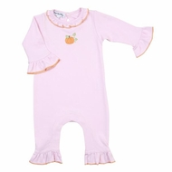 Magnolia Baby Girls Pink Vintage Little Pumpkin Embroidered Ruffle Playsuit