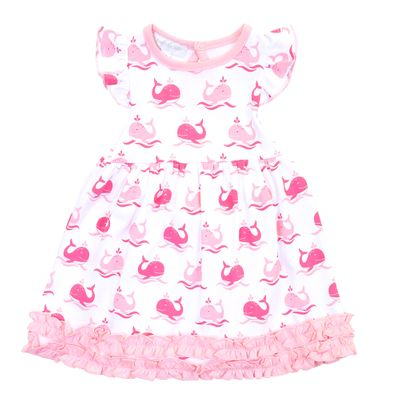 Magnolia Baby Girls Pink Whales Ruffle Dress