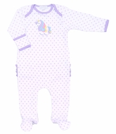 Magnolia Baby Girls Purple Dots Unicorn Applique Ruffle Footie