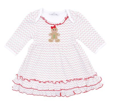 Magnolia Baby Girls Red Christmas Gingerbread Applique Dress Set