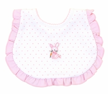 Magnolia Baby Girls Vintage Cottontail Bunny Ruffle Bib - Pink