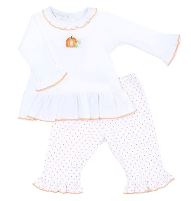 Magnolia Baby Girls Vintage Pumpkin Embroidered Ruffle Pant Set