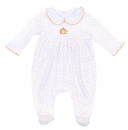 Magnolia Baby Girls Vintage Pumpkin White Embroidered Footie - Ruffle Collar