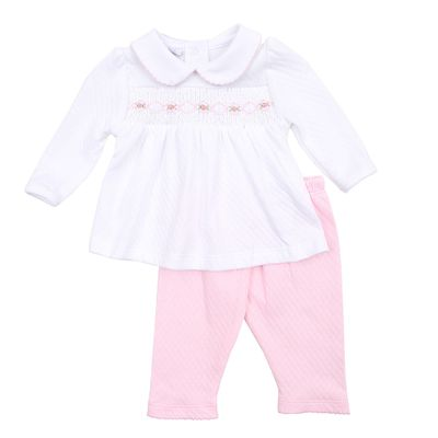 Magnolia Baby Girls Zach and Zoe's Classics Pink Smocked Pant Set