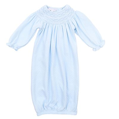 Magnolia Baby Girls Zach and Zoe's Classics Smocked Gown - Blue