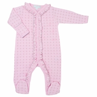 Magnolia Baby Girls Zara and Zane's Classics Embroidered Ruffle Footie - Pink