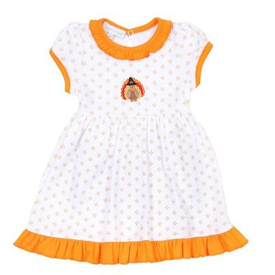 Magnolia Baby Little Girls Give Thanks Embroidered Turkey Dress