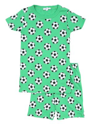 Magnolia Baby Little Boys Green Soccer Balls Print Goal! Short Pajamas