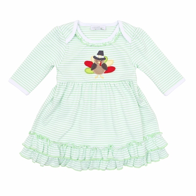 Magnolia Baby Girls Green Gobble Gobble Thanksgiving Turkey Applique Dress Set