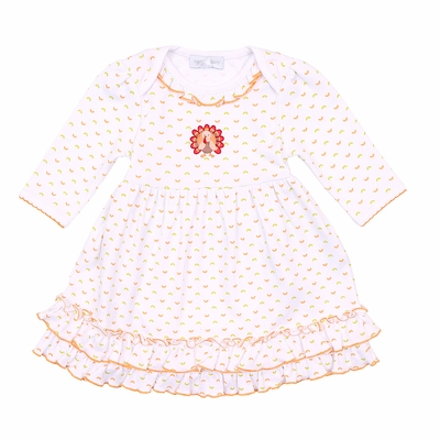 Magnolia Baby Girls Gobble Gobble Embroidered Thanksgiving Turkey Dress