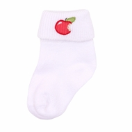 Magnolia Baby Gobble Gobble Embroidered Red Apple Sock