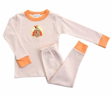Magnolia Baby Little Boys / Girls Orange Gobble Til You Wobble Applique Turkey Pajamas