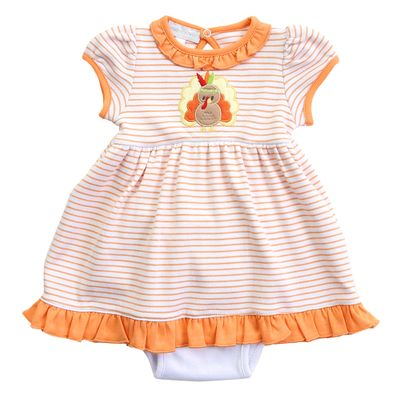 Magnolia Baby Girls Orange Gobble Til You Wobble Applique Turkey Dress Set