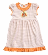 Magnolia Baby Little Girls Orange Gobble Til You Wobble Applique Turkey Dress