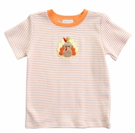 Magnolia Baby Little Boys Orange Gobble Til You Wobble Applique Turkey T-Shirt