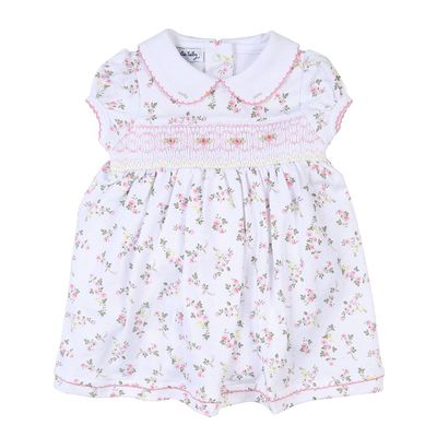 Magnolia Baby Girls Pink Floral Grace's Classics Smocked Dress with Collar