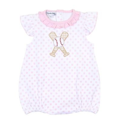 Magnolia Baby Girls Grand Slam Baseball Applique Flutters Bubble - Pink