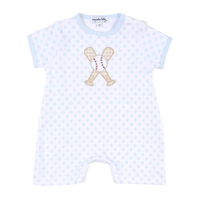 Magnolia Baby Boys Blue Grand Slam Baseball Applique Short Playsuit