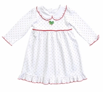 Magnolia Baby Girls Happy Holly Days Embroidered Dress Set - Long Sleeves - White
