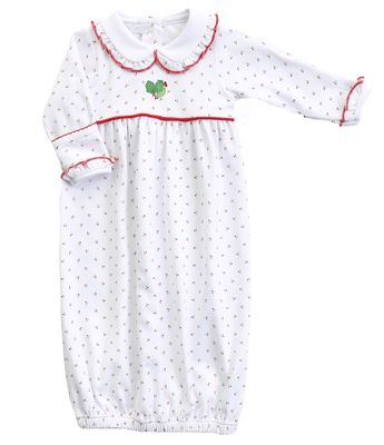 Magnolia Baby Girls Happy Holly Days White Embroidered Gathered Gown