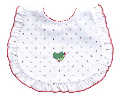 Magnolia Baby Girls White Happy Holly Days Embroidered Ruffle Bib