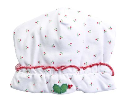 Magnolia Baby Girls Happy Holly Days Embroidered Ruffle Hat - White