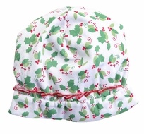 Magnolia Baby Girls Happy Holly Days Printed Ruffle Hat - Green