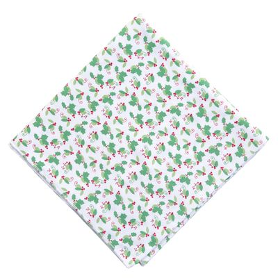 Magnolia Baby Girls Green Happy Holly Days Printed Swaddle Blanket