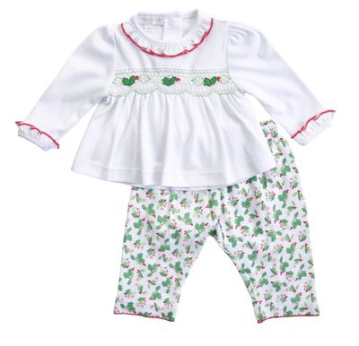 Magnolia Baby Girls Green Happy Holly Days Smocked Pant Set
