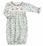 Magnolia Baby Girls Happy Holly Days Smocked Gown - Green