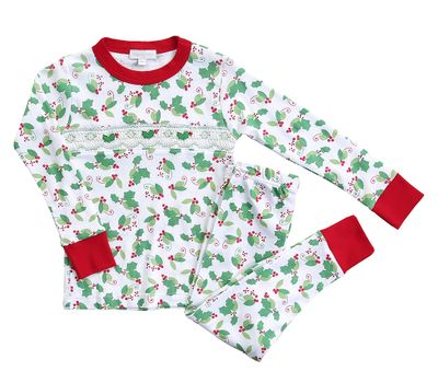 Magnolia Baby Little Girls Happy Holly Days Smocked Christmas Pajamas