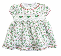 Magnolia Baby Girls Happy Holly Days Smocked Dress Set - Green