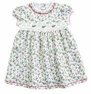 Magnolia Baby Little Girls Happy Holly Days Smocked Dress - Green