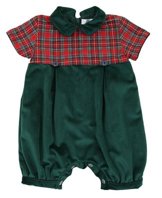Magnolia Baby Boys Red Holiday Plaid / Green Velvet Romper