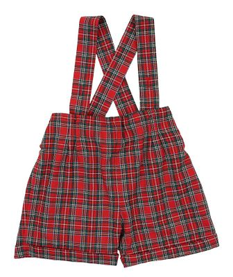 Il Tesoro di Magnolia Baby Boys Red Holiday Plaid Boys Suspender Shorts