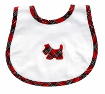 Magnolia Baby Boys / Girls Holiday Plaid Scottie Dog Bib