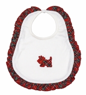 Magnolia Baby Girls Holiday Plaid Scottie Dog Bib with Ruffle