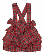 Magnolia Baby Girls Red Holiday Plaid Ruffle Shorts Bubble