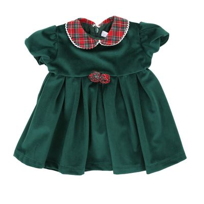 Magnolia Baby Girls Green Velvet Christmas Dress with Red Holiday Plaid Collar