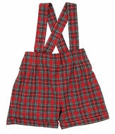Magnolia Baby Little Boys Red Holiday Plaid Suspender Shorts