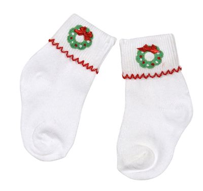 Magnolia Baby Girls Christmas Holiday Wreath Classics Embroidered Socks