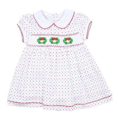 Magnolia Baby Little Girls Holiday Wreath Classics Smocked Collared Dress
