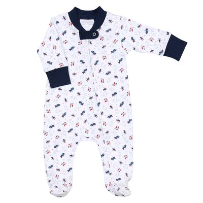 Magnolia Baby Boys Blue In Flight Airplanes Printed Zipped Footie