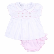 Magnolia Baby Girls Jillian and Jacob's Classics Pink Smocked Ruffle Bloomer Set