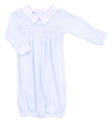 Magnolia Baby Boys Jillian and Jacob's Classics Smocked Collared Pleated Gown - Blue