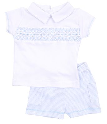 Magnolia Baby Boys Jillian and Jacob's Classics Blue Smocked Shorts Set